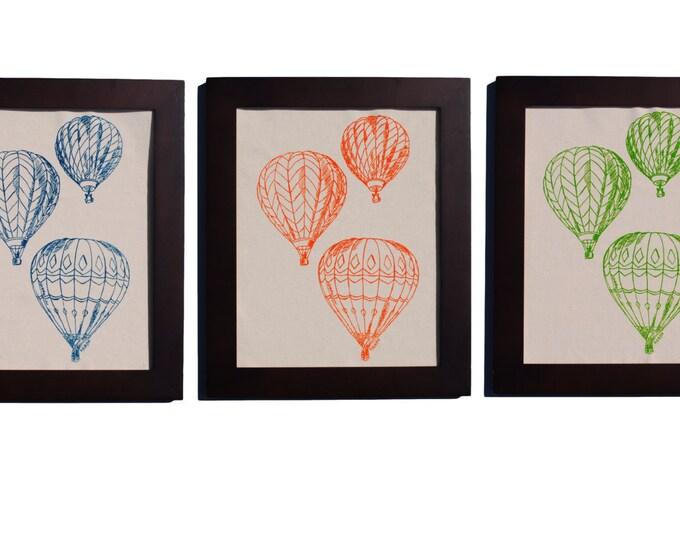 Hot Air Balloons Wall Art - Wall Decor Art - Art for Kitchen - Vintage Artwork - Print on Fabric - Wall Art Baby Room - Nursery Artwork