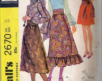 """Vintage 1970 McCall's 2670 Hippy Boho Gypsy Separates Sewing Pattern Size 12 Bust 34"""""""