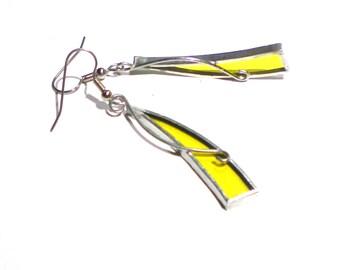 Sonnigen Splitter - Glasmalerei-Ohrringe - lange gelbe Damen Accessoires leicht Schmuck baumeln nickelfrei Haken (sofort lieferbar)