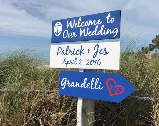 Welcome wedding sign, Navy Anchor Wedding Decor, Destination Nautical Wedding Arrow
