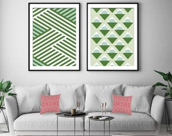 Freedom Geometric Patterns (Series A) Set of 2 - Art Prints (Featured in Clover and Mint) Botanical Print Set