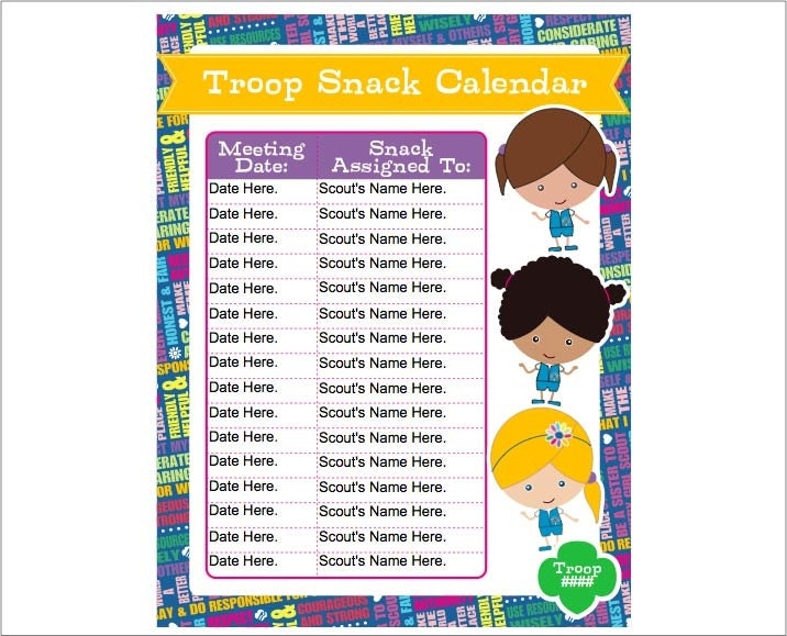 Daisy Girl Scout Snack Calendar Editable Printable Instant