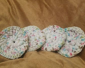 Crochet exfoliating / dish scrubbie- white with pink/blue/brown confetti reusable ecofriendly scrubber spa facial pot scrubber multipurpose