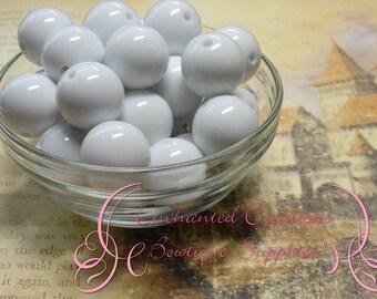 20mm Solid White Acrylic Beads Qty 10,  Chunky Bead, Bubblegum Bead, Gumball Bead, Chunky Jewelry Bead, Acrylic, Gum Ball Bead, Large Bead