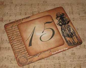 Vintage Style Marie Antoinette French Script Luxury Table Numbers/Names Wedding Original Design