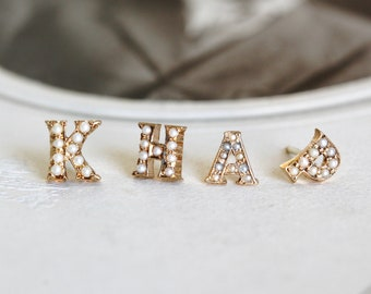 Initial Letter Stud Earrings, Vintage 14k & Pearl Alphabet Studs, Personalized Jewelry
