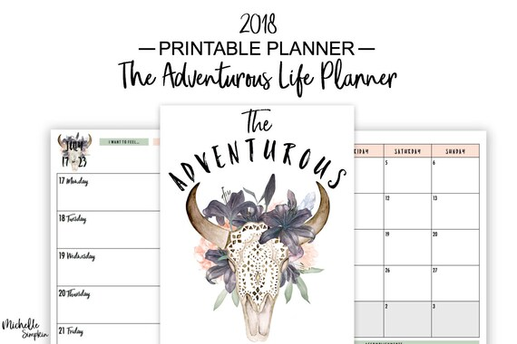 2018 Planner Printable, Printable Planner, 2018 Printable Planner, 2018  Weekly Planner Printable, Planners and Organizers, US Letter, A5, A4