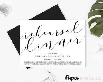 INSTANT DOWNLOAD Rehearsal Dinner Invitation Template, Rehearsal Dinner, Wedding Rehearsal, Dinner Invitation, Printable, Editable