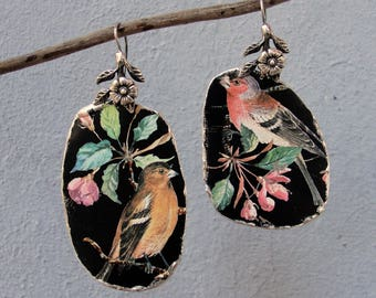 Vintage Tin Earrings Asymmetrical Bird Earrings Sterling Silver Statement Earrings Soldered Hammered Birds and Leaves