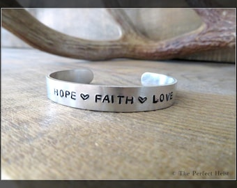 Cuff, Silver, Aluminum, Stamped, Hope, Faith, Love