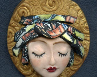 Caned hat face cab  OOAK Polymer clay Detailed  ANGOG 6