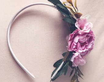 Purple/pink rose headband