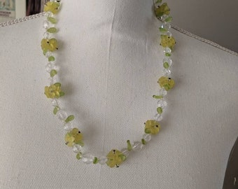 Fun Plastic Yellow Flower Cluster Necklace
