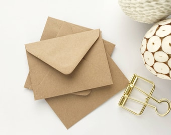 25 Small Envelopes Kraft Seed Envelopes Recycled for mini gift cards wedding favors gift enclosure envelopes card making/craft 4.3/8x3.1/.4""