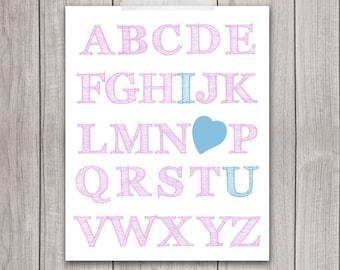 I Love You Alphabet - 8x10 Nursery Decor, Nursery Art, I Love You, Printable Art, Printable Nursery, Baby Girl Nursery