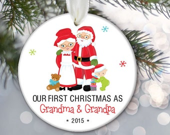 Our First Christmas as Grandma and Grandpa Personalized Christmas Ornament Santa and Mrs Claus Ornament Grandparents Gift  OR701