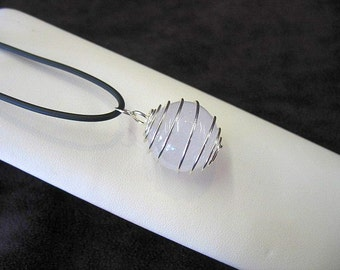 Quartz crystal sphere necklace in wire cage, caged quartz pendant