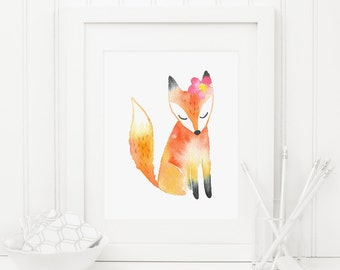 Fox Printable Nursery Fox Print Woodland Animal  Woodland Nursery Wall Art Woodland Decor Pink Flower Forest Animal Girl Nursery Decor