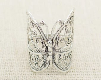 Vintage Filigree Sterling Silver Butterfly Wrap Ring, Large Statement Ring