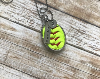 Softball Necklace - Personalized Name & Number - Hand Stamped - Softball Seams - Softball Leather - Personalized Softball Necklace - Oval