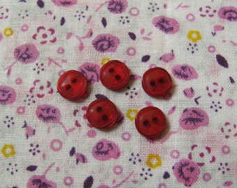 5 square mini buttons plain Red 8 mm