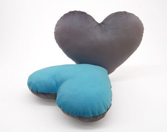 Silver and Light Blue Team Spirit Hug Heart Shaped Pillow 12x14 inches