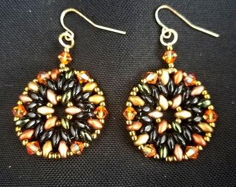 Geometric Czech Beaded Earrings