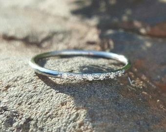 14K White Gold Ring Diamond Stacking Rings Diamond Wedding Band 14K White Gold Ring Womens Gift Diamond Ring Thin Band Skinny Gold Band Wife
