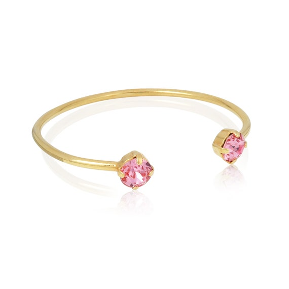 Stone bangle cuff in Light Rose Pink