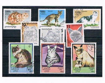 Pet Cat Postage Stamps - domestic cats, house cat, ginger, tabby, siamese, persian | thematic used vintage stamps to craft, upcycle, collect