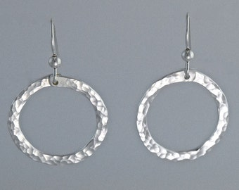 Sterling Silver Round Hammered Earrings