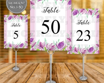 Purple Tulips Flowers Table Number Printable || Rustic Floral Wedding || Number 1-50 || Size 4x6 & 5x7 || Digital Files || PDF || SY038