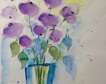 Original watercolor painting flowers flowers Watercolor Art