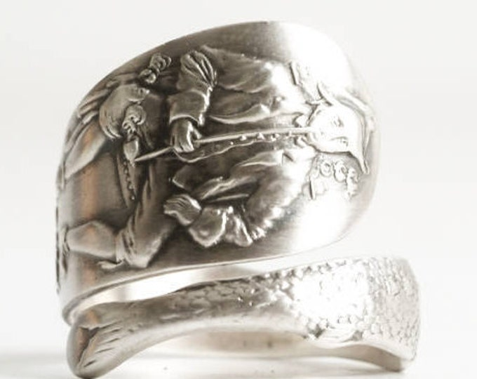 Knickerbocker Ring, Albany NY Ring, Sterling Silver Spoon Ring, NYC New York Ring, 925 Fish Ring, Handmade Gift, Adjustable Ring Size (6840)