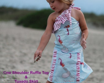 Ruffled Tuxedo Skirt PDF childrens Sewing Pattern - sizes 2, 3, 4, 5 little girls - Instant Download