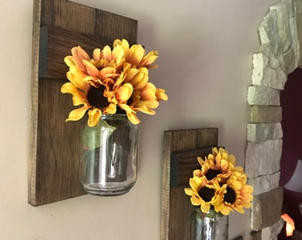 Set of Two, Mason Jar Candle Holder, Rustic Wood Scones, Home Wall Decor