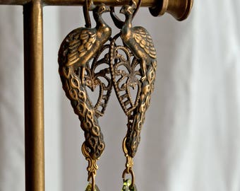 Peacocks and Paisley - Glorious Long Peacock vintage brass filigree drop earrings with green Swarovski baroque crystal - Lovers