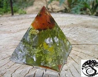 Orgone pyramid Fire Agate,  Gemstones