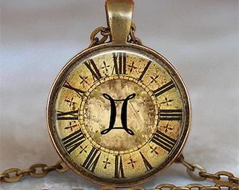 Steampunk Zodiac Gemini pendant, Zodiac jewelry Gemini necklace Zodiac necklace Zodiac pendant astrology key chain key ring key fob
