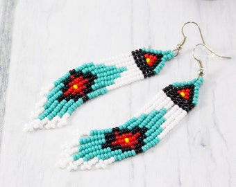 American India style earring women Aquamarine earrings handmade Ethnic jewelry aboriginal tribal Festival Boho Jewelry Inlay Earrings store