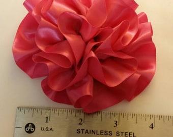 Pink satin hair bow