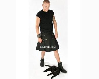 Interchangeable Black Cotton Kilt
