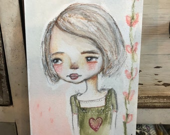 Magic in Your Eyes, Mixed Media Whimsical Face Original Art, Water Color Art, Wall Art, Mixed Media Girl, Water color Face, Girls Room Art