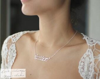 Cadeau • NH01 écriture personnalisé bijoux • Signature collier • écriture personnalisée souvenir cadeau • Mémorial significative cadeau • la fête des mères