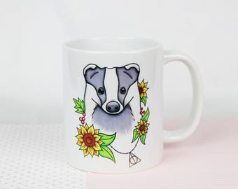 Badger Mug Hufflepuff Gift Harry Potter Mug Home Harry Potter Gift Woodland Animal Gift Badger Artwork Mug Wildlife Gift Hogwarts Gift Home