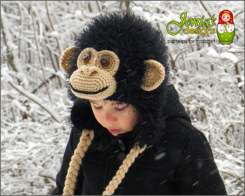 CROCHET PATTERN - Crochet Chimpanzee Hat, Monkey/Ape Hat Pattern for ...