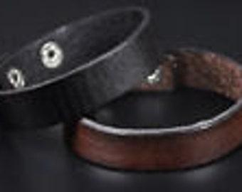 Leather Strap Brown Black Band Bracelet Cuff
