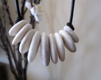 Nine beach pebble stones pendant necklace #1819