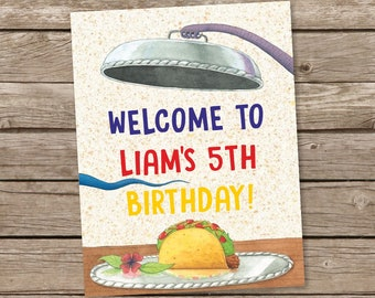 Dragons Love Tacos Personalized Welcome Birthday Door Sign, Printable Poster, Printable Birthday Welcome Sign