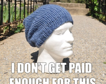 Denim Blue Knit Hat - Wool Ribbed Knit Slouch Hat - Women or Mens Hat